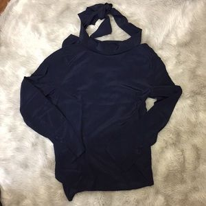 J. Crew Navy Blue Silk Blouse. Size 0